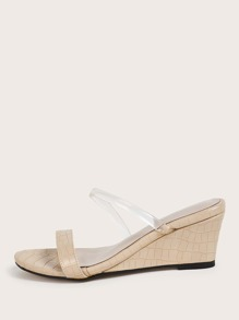 Croc Embossed Clear Strap Wedges Mules