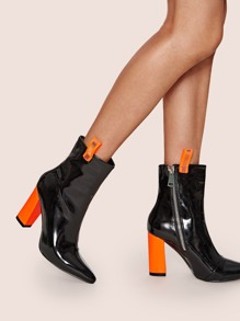 Neon Orange Chunky Heeled Boots