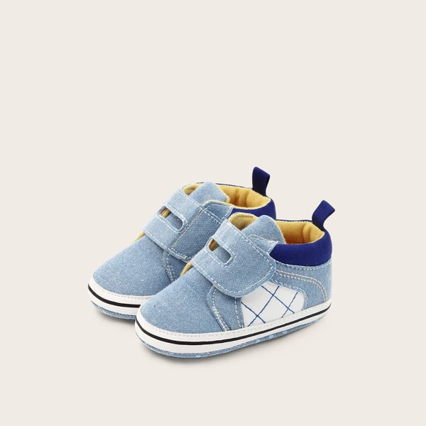 Baby Boy Plaid Velcro Strap Sneakers, Blue