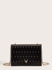 Deer Detail Studded Decor Chain Bag