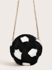 Two Tone Faux Fur Chain Crossbody Bag