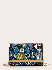 Snakeskin Print Flap Chain Crossbody Bag
