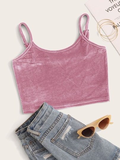 Solid Velvet Crop Cami Top