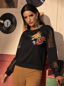 Dragon Embroidery Mesh Panel Sweatshirt