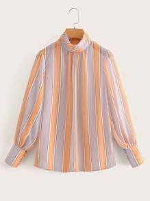 Buttoned Cuff Striped Blouse