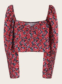 Ditsy Floral Print Sweetheart Neck Shirred Blouse