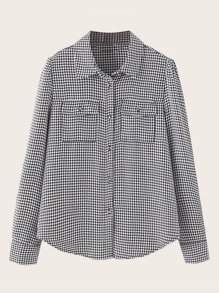 Houndstooth Curve Hem Button Up Blouse