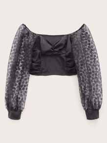 Contrast Mesh Sleeve Zipper Crop Blouse
