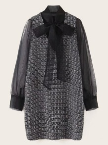 Tie Neck Contrast Mesh Sleeve Tweed Dress