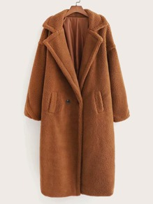 Pocket Side Lapel Neck Teddy Coat