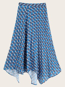 Asymmetrical Hem Geometric Print Pleated Skirt