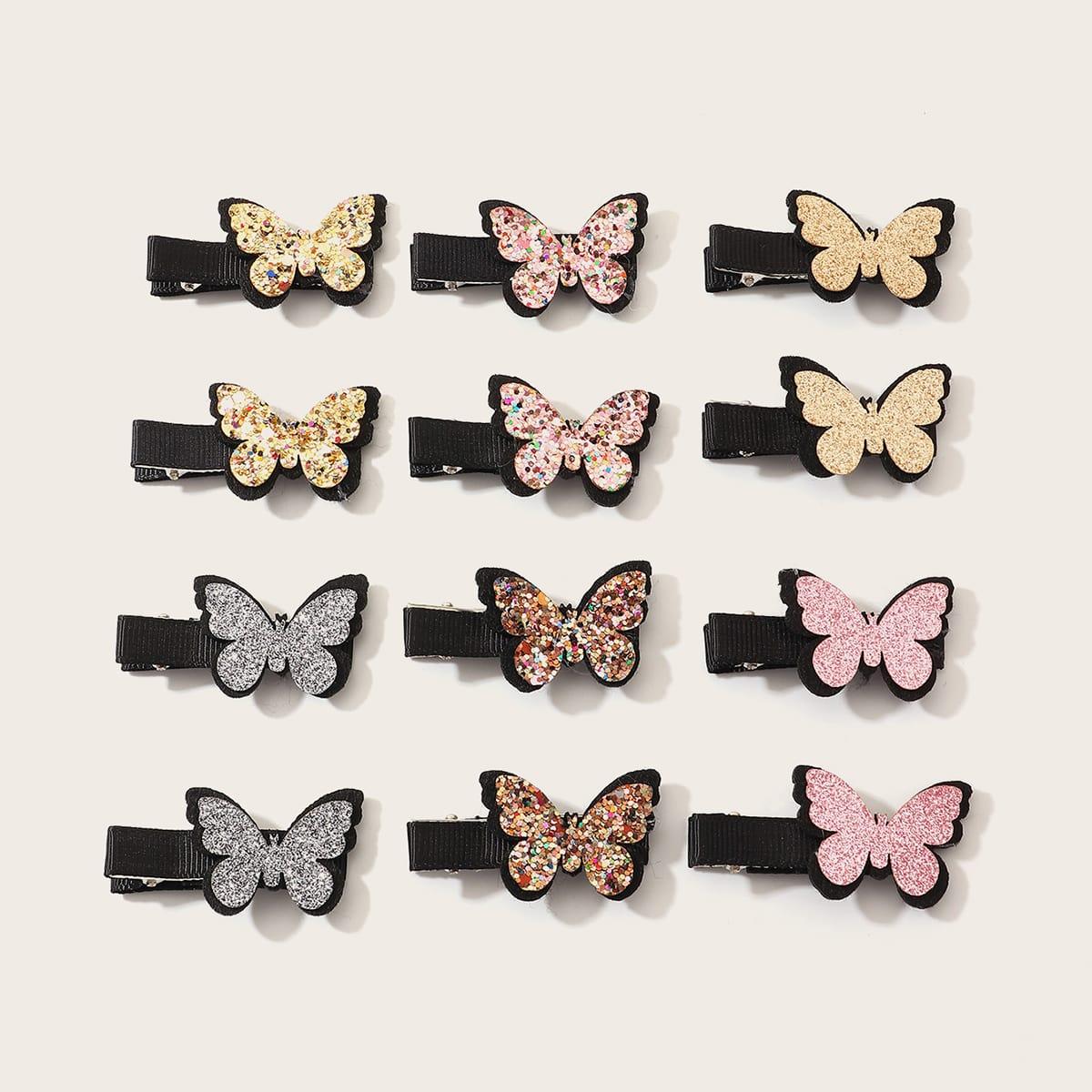 12pcs Toddler Girls Butterfly Decor Hair Clip