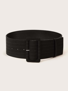 Striped Pattern Wide Buckle Belt