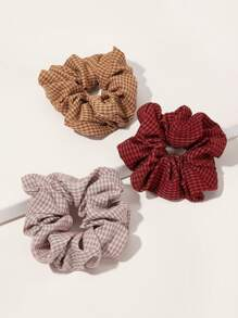 3pcs Plaid Pattern Scrunchie