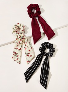 3pcs Striped & Ditsy Floral Pattern Scrunchie Scarf