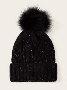 Pom Pom Decor Cuffed Beanie