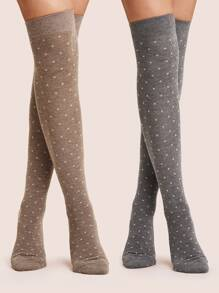 2pairs Polka Dot Pattern Knee Length Socks