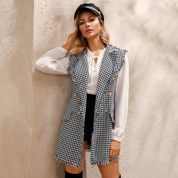 Frayed Trim Houndstooth Print Tweed Vest Blazer, Black and white