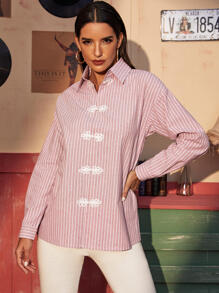 Vertical Striped Frog Button Blouse