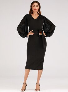 Frill Shirred Cuff Bishop Sleeve Belted Pencil Dress