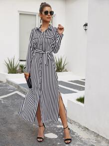 Striped Split Thigh Belted Shirt Dress