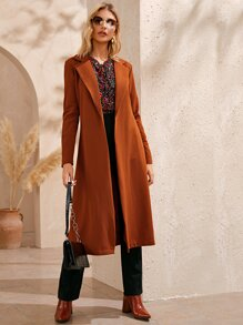 Solid Lapel Collar Longline Coat