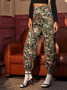 Camo & Dragon Print Cargo Pants