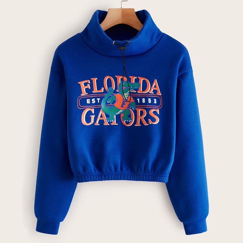 Crocodile & Letter Graphic Funnel Neck Sweatshirt, Blue bright