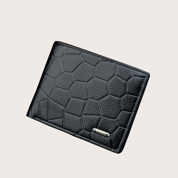 Men Textured Fold Over Purse, Black