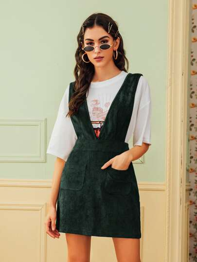Pocket Front Corduroy Suspender Dress