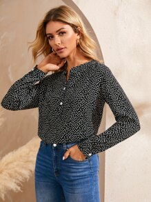 Ditsy Floral Print Notch Neck Blouse