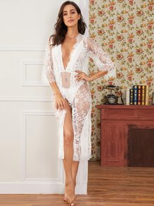 Eyelash Lace Sheer Belted Robe