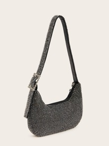Rhinestone Decor Buckle Strap Hobo Bag