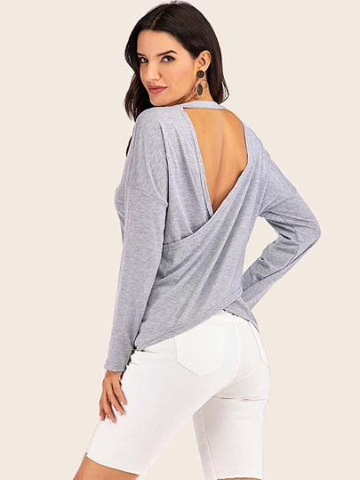 Cut Out Back Drop Shoulder Sweatshirt