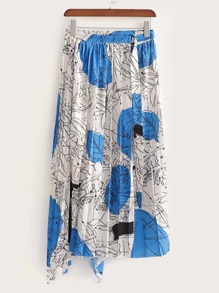 Graffiti Print Pleated Asymmetrical Skirt