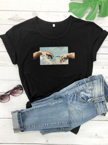 Finger And Sky Print Tee