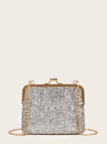 Kiss Lock Glitter Evening Clutch