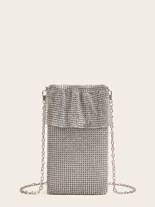 Rhinestone Decor Hollow Out Evening Clutch