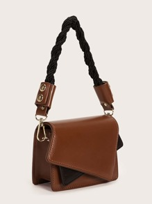 Mini Color Block Satchel Bag With Braided Strap
