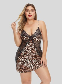 Plus Leopard Contrast Lace Slips With Thong