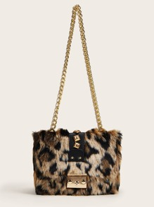 Studded Decor Push Lock Leopard Chain Bag