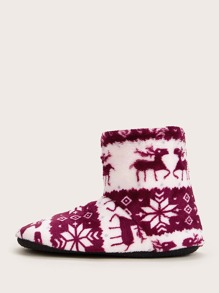 Geometric Graphic Faux Fur Lined Boots