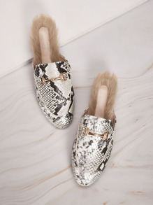 Faux Fur Decor Snakeskin Loafers Mules