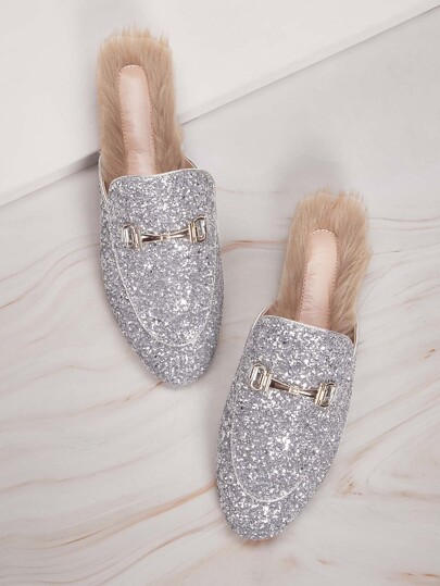 Faux Fur Glitter Loafers Mules