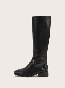 Buckle Strap Side Zip Riding Boots
