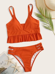 Ruffle Trim Top With Cut Out Panty Tankini