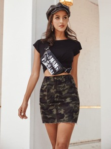 Camo Print Raw Hem Denim Skirt
