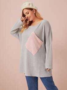 Plus Waffle Neck Colorblock Pocket Patched Jumper