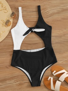 Two Tone Knot Front One Piece Swimwear