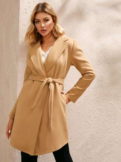 Lapel Double Breasted Belted Coat